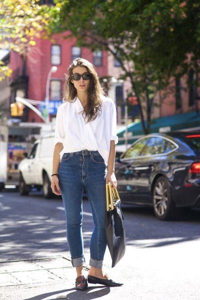Sokak Modasında En Tarz Yüksek Bel Pantolon ve Gömlek Kombinleri 2017