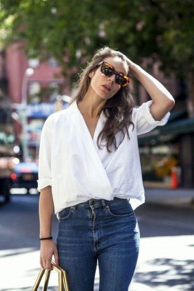 Sokak Modasında En Tarz Yüksek Bel Pantolon ve Gömlek Kombinleri 2017 Yakından Görselleri