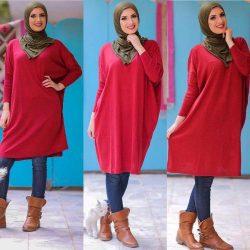 En Yeni Kırmızı Renkli Çok Şık Tesettür Elbise Modelleri