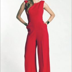 Kırmızı Rekli Oldukça İddialı Bayan Abiye Tulum Modelleri 2017