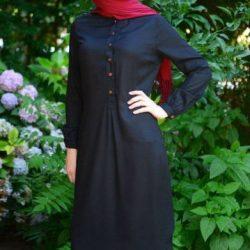 Koyu Renkli Tesettür Tunik Elbise Modelleri 2017