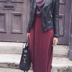 En Güzel Deri Ceket Etek Kombinleri Tesettür