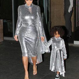 Kim Kardashian Anne-Kız Metalik Elbise Tercihi Tercihi