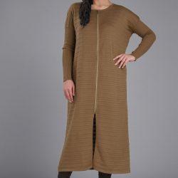 Patırtı Giyim Önden Fermuarlı Vizon Uzun Hırka Modeli