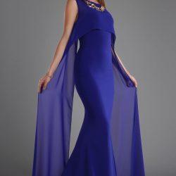 Saks Mavisi Tül Detaylı Patırtı Abiye Modelleri 2017