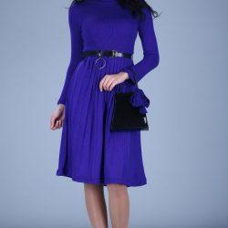 Saks Mavisi Kemer Detaylı Patırtı Elbise Modelleri 2017