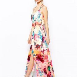 Çiçek Desenli Çift Yırtmaçlı Günlük Elbise Modelleri
