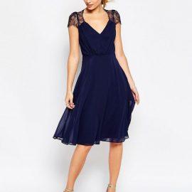 Çok Zarif Mavi Renkli Günlük Elbise Modeli 2017