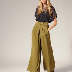 Bol Paça Yüksek Bel Kumaş Pantolon Modelleri 2017