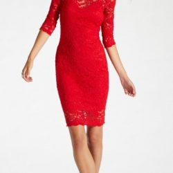 En Şık Dantel Elbise Modelleri Kırmızı Renkli