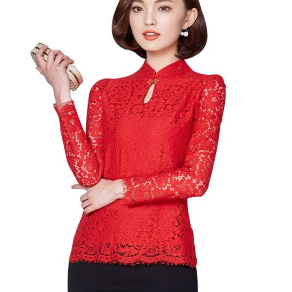 Kırmızı Renkli Dantel Bluz Modelleri 2017