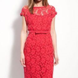 Kemer Detaylı Kırmızı Dantelli Elbise Modelleri 2017