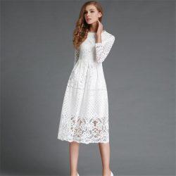 Lazer Kesim Beyaz Renkli Dantelli Elbise Modelleri