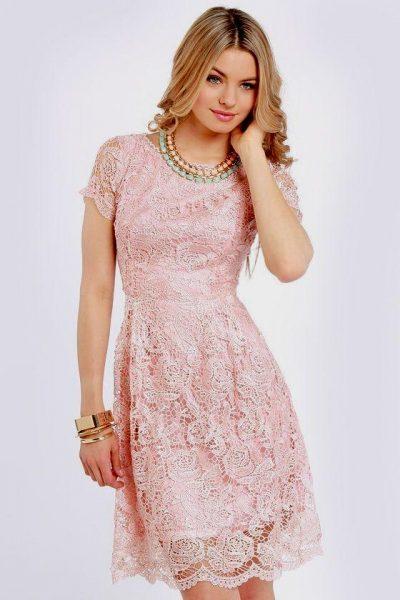 Pembe Renkli Dantelli Elbise Modelleri 2017