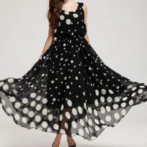 Puantiyeli Şifon Elbise Modelleri 2017