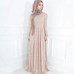 Tesettür Dantel Elbise Modelleri 2017