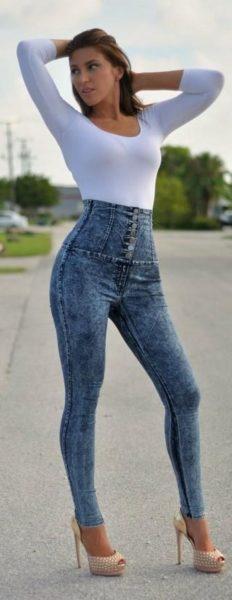Yüksek Bel Dar Paça Kot Pantolon Modelleri 2017