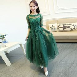 Zümrüt Yeşili Dantelli Elbise Modelleri 2017