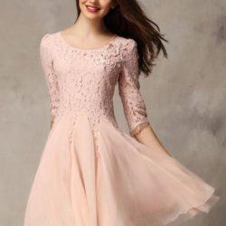 Pudra Renkli Dantel Elbise Modelleri 2017
