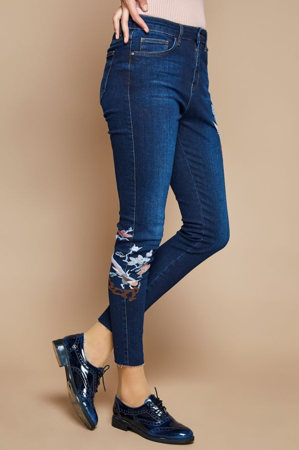 En Yeni Paçası Nakışlı Kot Pantolon Modelleri 2017