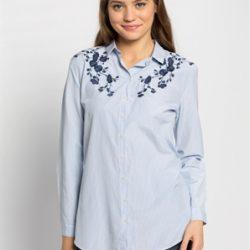 LCW Mavi Nakışlı Çok Şık Gömlek