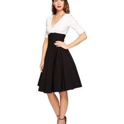 2018 İki Renk Kloş Elbise Modelleri