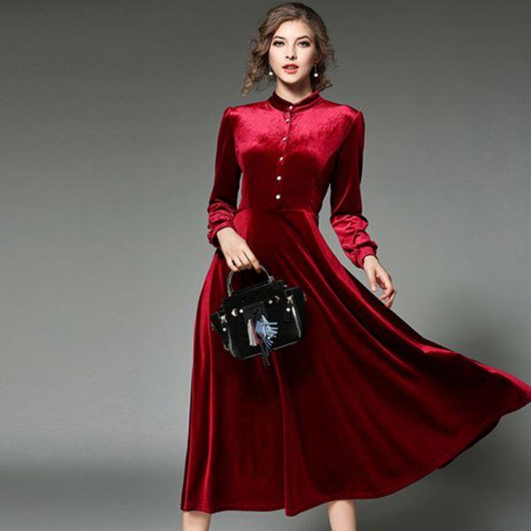 2018 Kadife Kloş Elbise Modelleri
