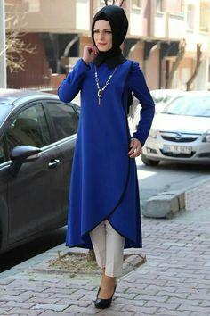 2018 Tesettür Tunik Elbise Modelleri Saks Mavisi