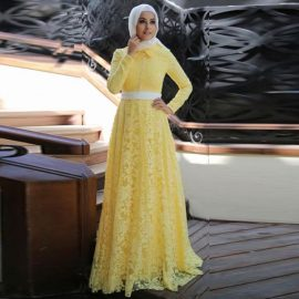 En Şık Tesettür Dantel Elbise Modelleri
