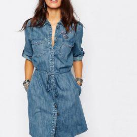 En Güzel Kot Gömlek Elbise Modelleri 2018