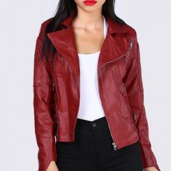 Kırmızı Renkli Patırtı Deri Ceket Modelleri 2018