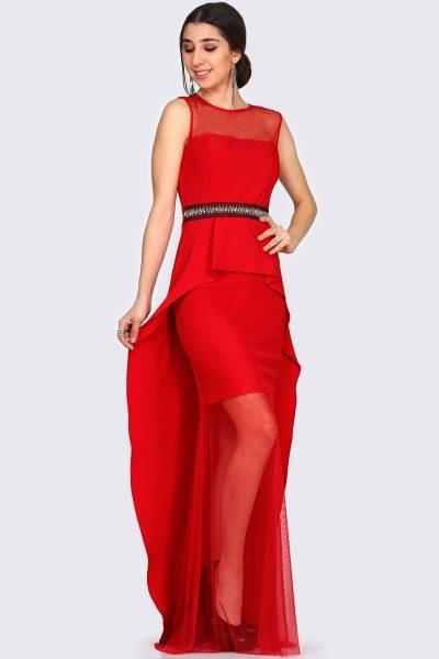 Pelerin Detaylı Kırmızı Renkli Çok Şık Patırtı Abiye Modelleri