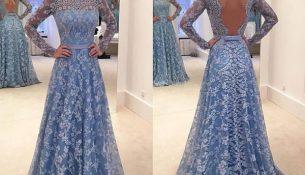 Sırt Dekolteli Dantel Abiye Modelleri 2018