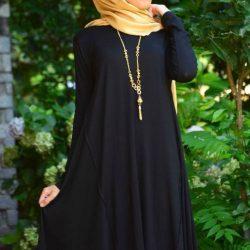 Siyah Renkli Çok Şık Tesettür Tunik Elbise Modelleri