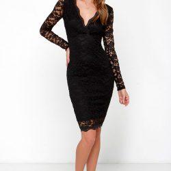 V Yaka Güpürlü Elbise Modelleri 2018
