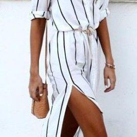 Yandan Yırtmaçlı Gömlek Elbise Modelleri 2018