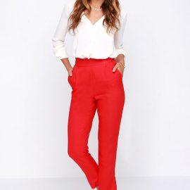 Yeni Sezon Kırmızı Renkli Yüksek Bel Pantolon