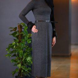 2018 Patırtı Giyim Bel Kemerli Antrasit Tesettür Elbise Modelleri