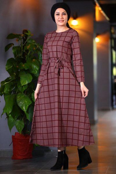 Ekoseli Çok Şık Patırtı Tesettür Elbise Modelleri