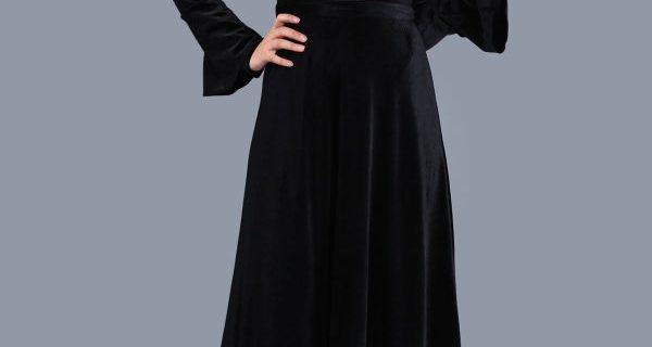 Patırtı Giyim Kolları Volanlı Kadife Elbise Modeli 2018