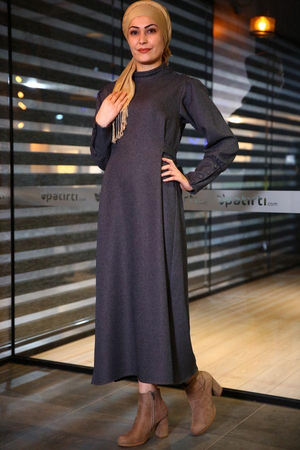 Patırtı Giyim Yandan Yırtmaçlı Antrasit Elbise Modelleri 2018