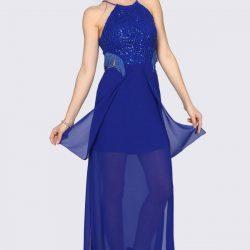Saks Mavisi İşlemeli Patırtı Abiye Modelleri 2018