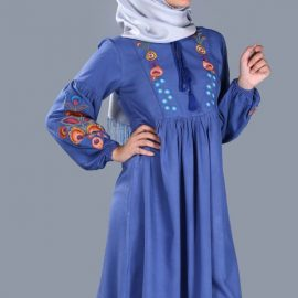 İndigo İşlemeli Tesettür Tunik Patırtı Giyim