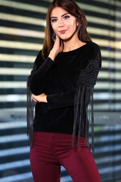 2018 Patırtı Püsküllü Kadife Bluz Modelleri