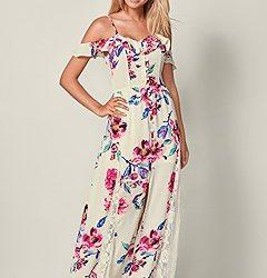 Çiçek Desenli En Güzel Uzun Elbise Modelleri 2019
