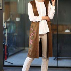En Güzel Patırtı Tesettür Modelleri Taba Yelek