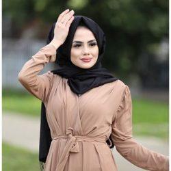 Patırıtı Tesettür Kruvaze Yaka Elbise Modelleri 2020