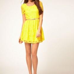 Sarı Renkli Dantelli Elbise Modelleri