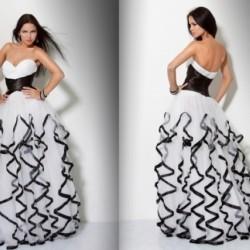 Siyah Beyaz Fırfırlı Abiye Modelleri