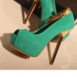 İnce Topuklu Platform Su Yeşili Ayakkabı Modelleri
